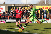 Forest Green Rovers Dan Wishart(17) shoots at goal during the EFL Sky Bet League 2 match between Morecambe and Forest Green Rovers at the Globe Arena, Morecambe, England on 17 February 2018. Picture by Shane Healey.