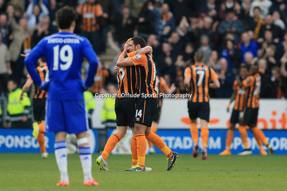 22 March 2015 - Barclays Premier League - Hull City v Chelsea - A dejected Diego Costa of Chelsea looks on as Hull celebrate their 2nd goal - Photo: Marc Atkins / Offside.