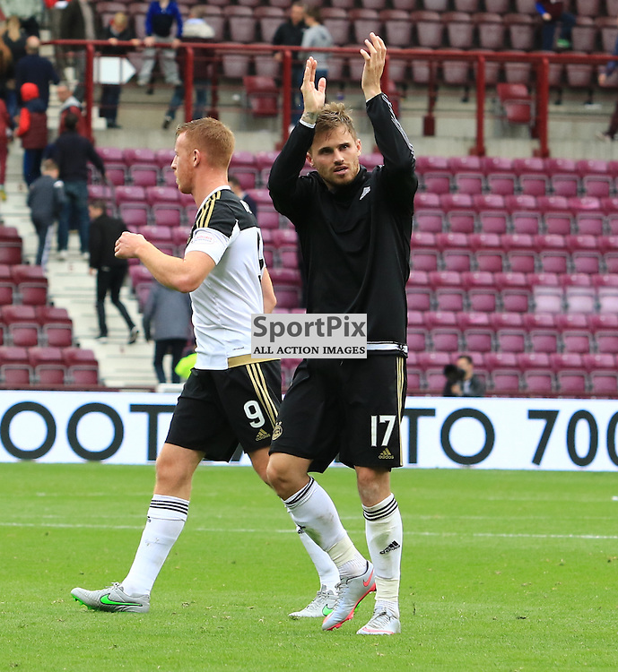 Aberdeen's David Goodwillie  salutes the travelling fans at the final whistle....  ©Edward Linton | SportPix.org.uk