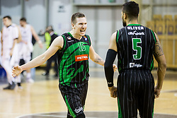 Gregor Hrovat of Petrol Olimpija and Devin Oliver of Petrol Olimpija celebrate after winning during basketballl match between KK Petrol Olimpija Ljubljana and KK Partizan NIS mts in Round #20 of ABA League 2017/18, on February 10, 2018 in Tivoli sports hall, Ljubljana, Slovenia. Photo by Vid Ponikvar / Sportida