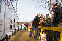 Great Meredith Rotary Ice Fishing Derby winners ceremony at Derby Headquarters in Meredith Bay.  Karen Bobotas for the Laconia Daily Sun