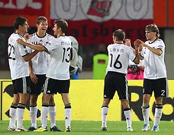 03.06.2011, Ernst Happel Stadion, Wien, AUT, UEFA EURO 2012, Qualifikation, Oesterreich (AUT) vs Deutschland (GER), im Bild Jubel von Mario Gomez, (GER, #23), Holger Badstuber, (GER, #14), Thomas Mueller, (GER, #13), Philipp Lahm, (GER, #16) und Marcel Schmelzer, (GER, #2) nach dem Sieg // during the UEFA Euro 2012 Qualifier Game, Austria vs Germany, at Ernst Happel Stadium, Vienna, 2010-06-03, EXPA Pictures © 2011, PhotoCredit: EXPA/ T. Haumer