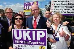 &copy; Licensed to London News Pictures. 07/06/2017<br /> Paul Nuttall with UKIP supporters<br /> UKIP Leader Paul Nuttall in Corrington,Essex this afternoon on a walkabout on the last day of the election campaign for 2017.<br /> Photo credit: Grant Falvey/LNP