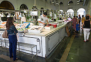 Fish stall in Bario Macerana market, Seville, Spain