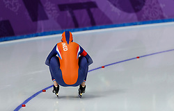 February 12, 2018 - Gangneung, South Korea - Ireen Wust of Netherlands warms up before winning  the Gold medal in the WomenÃ•s 1500M Speed Skating at the PyeongChang 2018 Winter Olympic Games at Gangneung Oval on Monday February 12, 2018. (Credit Image: © Paul Kitagaki Jr. via ZUMA Wire)