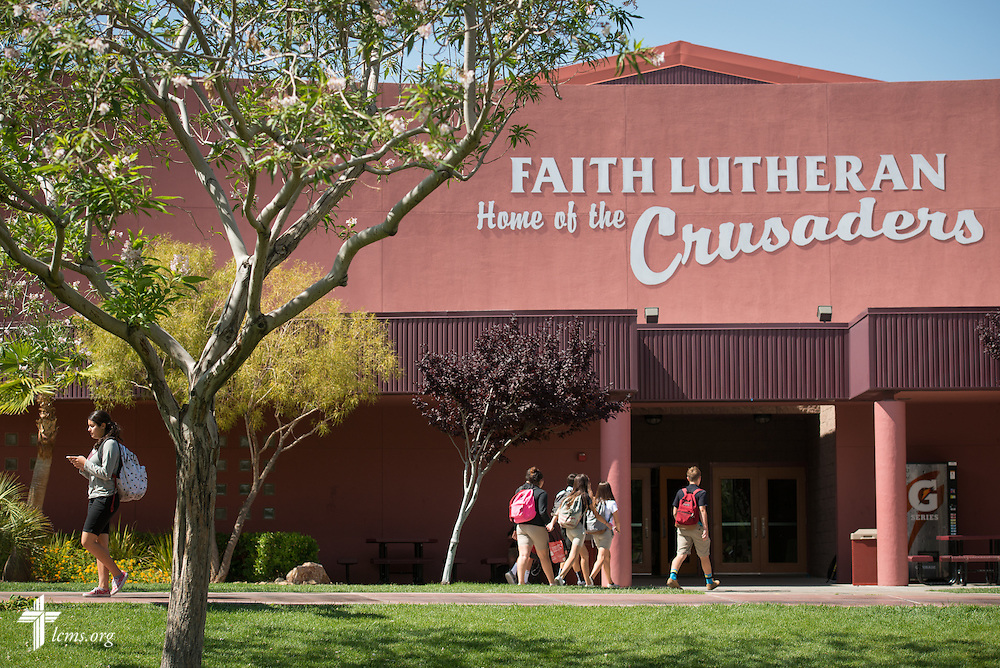 Students walk the campus of Faith Lutheran Middle School & High School on Tuesday, May 26, 2015, in Las Vegas, Nev.  LCMS Communications/Erik M. Lunsford