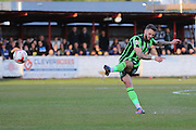 Callum Kennedy defender for AFC Wimbledon (3) with a free-kick during the Sky Bet League 2 play-off 2nd leg match between Accrington Stanley and AFC Wimbledon at the Fraser Eagle Stadium, Accrington, England on 18 May 2016. Photo by Stuart Butcher.