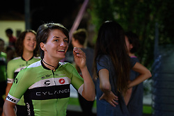 Valentina Scandolara (Cylance Pro Cycling) leads the team from the stage at Giro Rosa 2016 - Team Presentations in San Fior on 30th June 2016.
