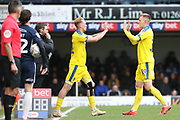 AFC Wimbledon midfielder Mitchell (Mitch) Pinnock (11) coming on for AFC Wimbledon striker Joe Pigott (39) during the EFL Sky Bet League 1 match between Southend United and AFC Wimbledon at Roots Hall, Southend, England on 16 March 2019.
