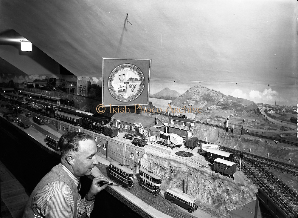 Mr Cyril Fry, Dundrum, Co. Dublin, with his Miniature Belfast Trams.10/06/1954