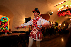 ROMANIA BRASOV 27OCT12 - Traditional folklore dancers perform at the Casa Fischer restaurant in Brasov city centre.....jre/Photo by Jiri Rezac / WSPA....© Jiri Rezac 2012