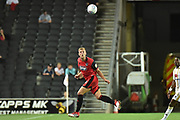 Grimsby Town defender Harry Davis (24) heads the ball during the EFL Sky Bet League 2 match between Milton Keynes Dons and Grimsby Town FC at stadium:mk, Milton Keynes, England on 21 August 2018.