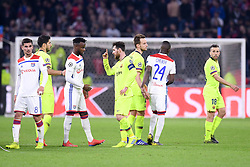 February 19, 2019 - Lyon, France - 08 HOUSSEM AOUAR (OL) - 09 LUIS SUAREZ (BAR) - 27 MAXWEL CORNET (OL) - 10 LIONEL MESSI (BAR) - 04 IVAN RAKITIC (BAR) - 18 JORDI ALBA (BAR) - FAIR PLAY - DECEPTION (Credit Image: © Panoramic via ZUMA Press)