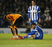 Brighton striker, Tomer Hemed (10) sitting on the floor dejected during the Sky Bet Championship match between Brighton and Hove Albion and Wolverhampton Wanderers at the American Express Community Stadium, Brighton and Hove, England on 1 January 2016.