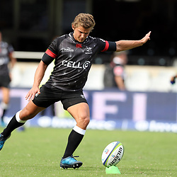 Pat Lambie of the Cell C Sharks during the Super Rugby match between the Cell C Sharks and the Western Force at Growthpoint Kings Park on May 06, 2017 in Durban, South Africa. (Photo by Steve Haag)