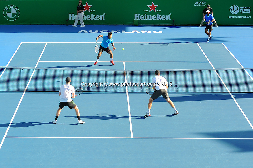 L-R Leander Paes (IND) and Raven Klaasen (RSA) and during their double match at the Heineken Open. ASB Tennis Centre, Auckland, New Zealand. Wednesday 14 January 2015. Copyright photo: Chris Symes/www.photosport.co.nz