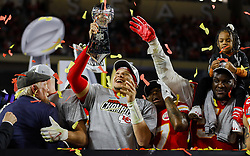 February 2, 2020, Miami Gardens, FL, USA: Kansas City Chiefs quarterback Patrick Mahomes holds the Vince Lombardi Trophy after winning Super Bowl LIV against the San Francisco 49ers, 31-20, at Hard Rock Stadium in Miami Gardens, Fla., on Sunday, Feb. 2, 2020. The Chiefs won, 31-20. (Credit Image: © TNS via ZUMA Wire)