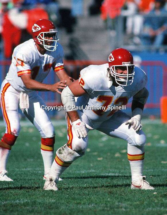 Kansas City Chiefs offensive lineman guard David Lutz (72) gets set to block in a two point stance during the NFL football game against the Denver Broncos on Sept. 10, 1989 in Denver. The Broncos won the game 43-20. (©Paul Anthony Spinelli)