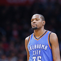 21 December 2015: Oklahoma City Thunder forward Kevin Durant (35) rests during the Oklahoma City Thunder 100-99 victory over the Los Angeles Clippers, at the Staples Center, Los Angeles, California, USA.