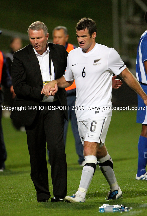 Ryan Nelsen is greeted by coach Ricki Herbert after he subbed off. ASB International Series, All Whites v Honduras, North Harbour Stadium Albany, Saturday 9th October 2010. Photo: John Cowpland / photosport.co.nz