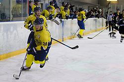 Jure Zupanc #38 of HK ECE Celje during Inter National League ice hockey match between HK Playboy Slavija and HK ECE Celje, on September 30, 2015, in Ledena Dvorana Zalog, Ljubljana, Slovenia. Photo by Urban Urbanc / Sportida