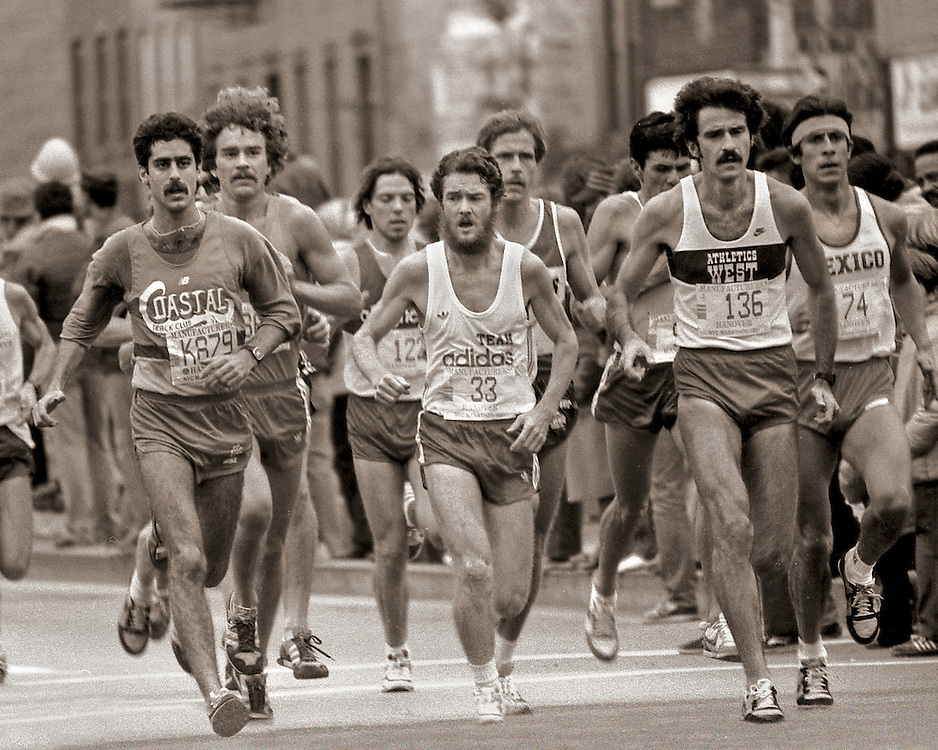 Runners, New York City Marathon. Six and a half mile mark. 1981