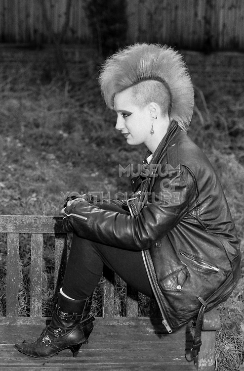 Sara on a Bench, High Wycombe, UK, 1980s