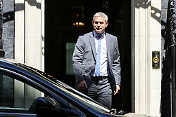 © Licensed to London News Pictures. 14/05/2019. London, UK. Stephen Barclay- Brexit Secretary departs from No 10 Downing Street after attending the weekly Cabinet meeting. Photo credit: Dinendra Haria/LNP