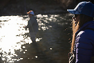 11182015: Fly fishing on the Trinity River in Northern California for the Northwest Rivers and Mountains Campaign. Leslie Ajari and her father Bruce Ajari have been fishing together since she was a small child.