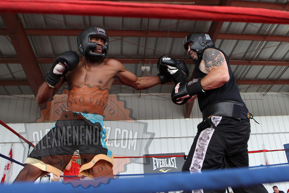 Ryon McKenzie (L) boxes during the 23rd Annual International Boxing Hall of Fame Induction ceremony at the International Boxing Hall of Fame on Sunday, June 10, 2012 in Canastota, NY. (AP Photo/Alex Menendez)