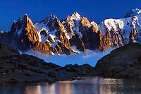 Mountain impression Lac Blanc with Aiguilles de Chamonix - Europe, France, Haute Savoie, Aiguilles Rouges, Chamonix, Lac Blanc - Sunset - September 2008