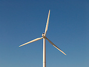 Close up of a wind turbine.
