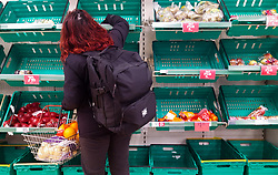 © Licensed to London News Pictures. 15/03/2020. London, UK. Iceland store in London runs low on fruit and vegetables products as panic-buying continues in supermarkets amid an increased number of coronavirus (COVID-19) cases in the UK. 35 coronavirus victims have died and 1,372 cases have tested positive of the virus in the UK. Photo credit: London News Pictures
