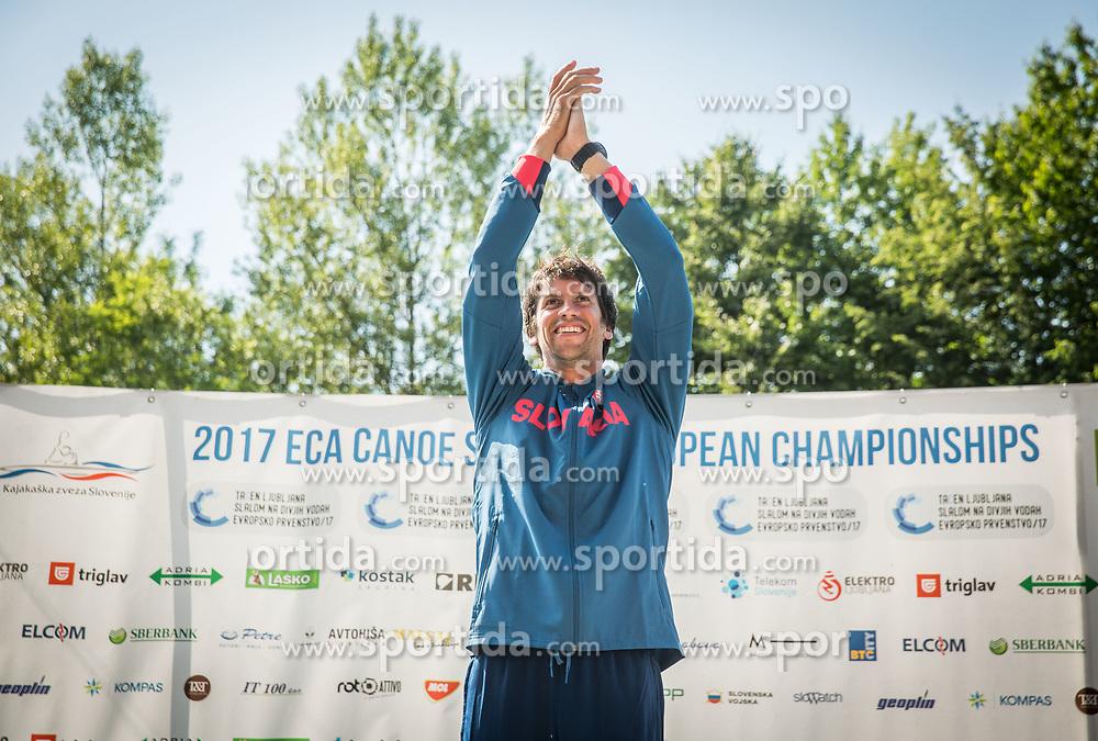 Winner Alexander Slafkovsky of Slovakia celebrates after competing in Final of Canoe C1 Men Single during Day 4 of 2017 ECA Canoe Slalom European Championships, on June 4, 2017 in Tacen, Ljubljana, Slovenia. Photo by Vid Ponikvar / Sportida