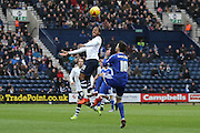 Preston North End Midfielder Daniel Johnson battles with Brentford Midfielder Josh McEachran during the Sky Bet Championship match between Preston North End and Brentford at Deepdale, Preston, England on 23 January 2016. Photo by Pete Burns