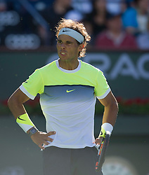 Rafael Nadal of Spain reacts during the men's quarterfinal against Milos Raonic of Canada on day twelve of the BNP Paribas Open tennis at the Indian Wells Tennis Garden in Indian Wells, California, the United States on March 20, 2015. Rafael Nadal lost 1-2. EXPA Pictures © 2015, PhotoCredit: EXPA/ Photoshot/ Yang Lei C<br /> <br /> *****ATTENTION - for AUT, SLO, CRO, SRB, BIH, MAZ only*****
