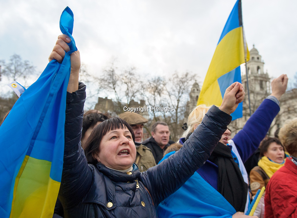 Ukrainian Protest, Parliament Square, London. Parliament Square, London, United Kingdom. Friday, 21st February 2014.  Photo by i-Images