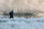 UNITED KINGDOM, London: 22 November 2018 An early morning walker makes her way through a frosty Richmond Park during sunrise this morning. Temperatures sunk to zero degrees in the capital last night. Rick Findler  / Story Picture Agency