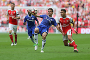 Chelsea's César Azpilicueta(28) clears the ball during the The FA Cup final match between Arsenal and Chelsea at Wembley Stadium, London, England on 27 May 2017. Photo by Shane Healey.