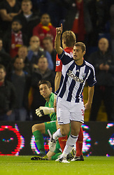 WEST BROMWICH, ENGLAND - Wednesday, September 26, 2012: West Bromwich Albion's Gabriel Tamas celebrates scoring the first goal against Liverpool during the Football League Cup 3rd Round match at the Hawthorns. (Pic by David Rawcliffe/Propaganda)