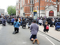 Black Lives Matter protest following police killing of George Floyd in Minneapolis USA. Croydon, UK June 2020. The demo took place during Coronavirus lockdown