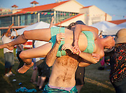 Festivalgoers dance and celebrate at the Jazz & Heritage stage at Jazz Fest 2009