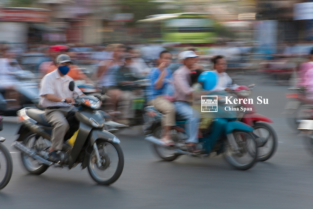 Motorbikes on the street.
