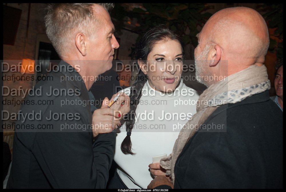 JOHN MAYBURY; ARTIST MARINA ABRAMOVIC; NIGEL COATES;, Lisson Gallery reception at Chiltern Firehouse after the openings of work by Marina Abramovic: White Space and Nathalie Djurberg & Hans Berg: The Gates of the Festival, 15 September 2014