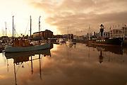 Hull Light Ship and yachts reflected in the Kingston upon Hull marina, East Yorkshire, England, UK.