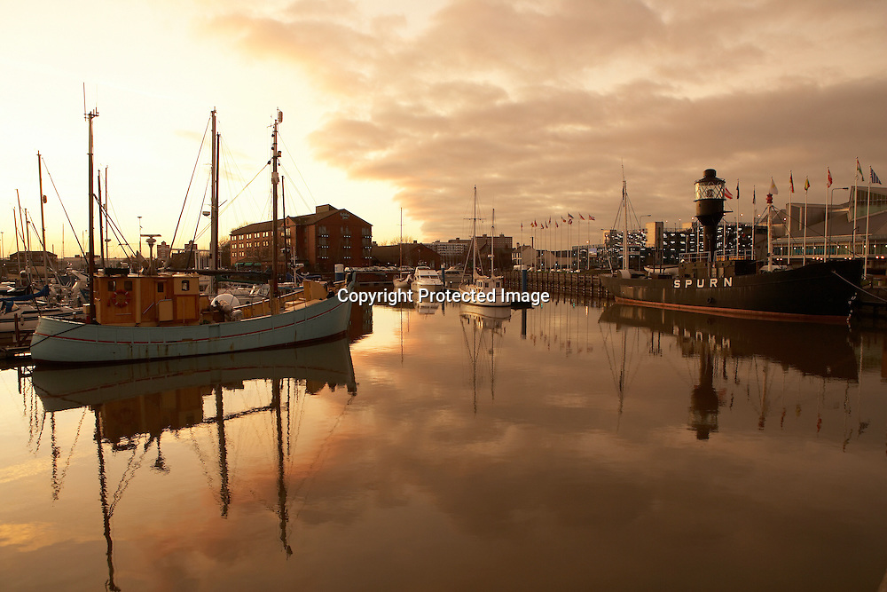 Hull Light Ship and yachts reflected in the Kingston upon Hull marina, East Yorkshire, England, UK.