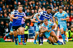 Jack Innard of Exeter Chiefs is tackled by ,Bath Rugby- Mandatory by-line: Ryan Hiscott/JMP - 03/11/2018 - RUGBY - Sandy Park Stadium - Exeter, England - Exeter Chiefs v Bath Rugby - Premiership Rugby Cup