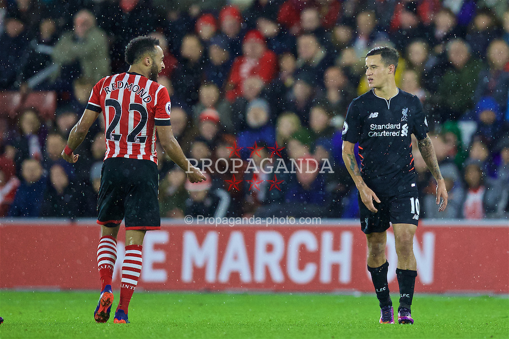 SOUTHAMPTON, ENGLAND - Saturday, November 19, 2016: Liverpool's Philippe Coutinho Correia clashes with Southampton's Nathan Redmond during the FA Premier League match at St. Mary's Stadium. (Pic by David Rawcliffe/Propaganda)