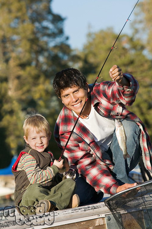 Father and Son Catching Fish