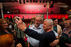 © Licensed to London News Pictures. 05/09/2015. Margate, UK.  JEREMY CORBYN sing for a selfie with a supporter after the event. Labour leadership candidate JEREMY CORBYN taking part in a rally in Margate in Kent, UK today (SAT).  Corbyn is currently the favourite to be announced as the new Labour party leader on September 12th. Photo credit: Ben Cawthra/LNP